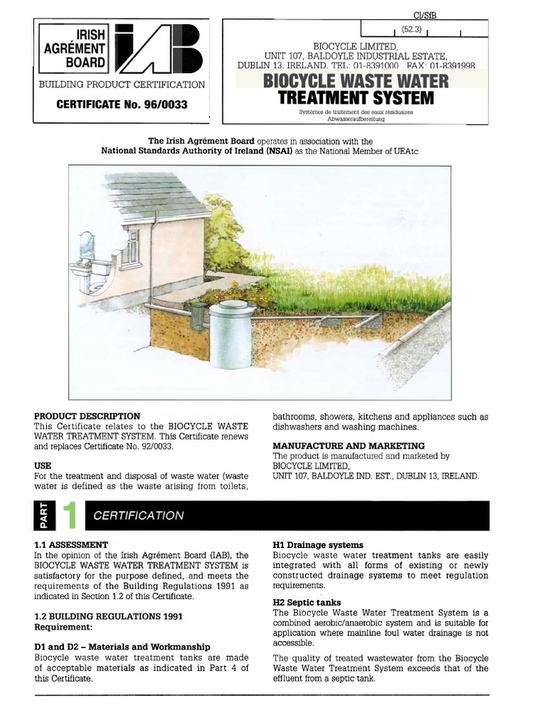 Biocycle Waste Water Treatment System Irrigation Wastewater