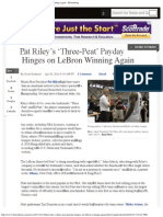 Pat Riley's 'Three-Peat' Payday Hinges on LeBron Winning Again - Bloomberg