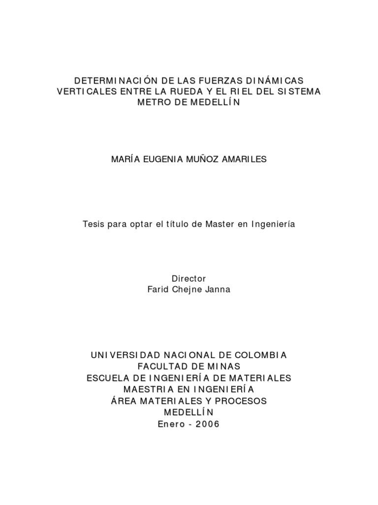 Tesis Rueda Riel Metro Medellin