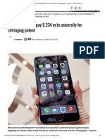 Apple ordered to pay $ 234 m to university for infringing patent
