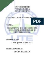 Contrato de Consecion de Local Comercial y Distribucion Segun las leyes de ecuador
