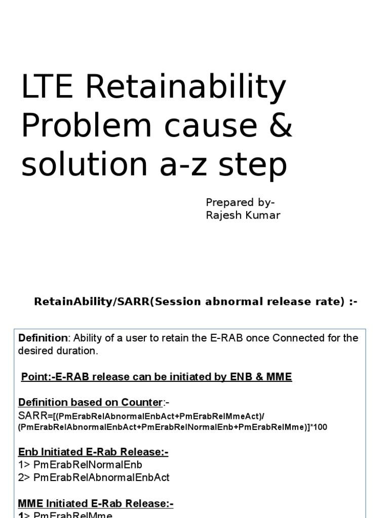 lte retainability | telecommunications engineering | radio technology