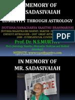 Determining Longevity through Astrology - Mr. Sadasivaiah