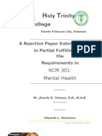 Reaction Paper in Mental Health