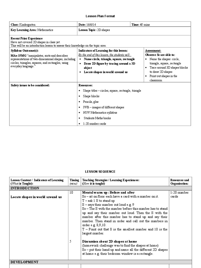 2d Shapes Lesson Plan 17 6 14 Shape Lesson Plan