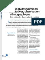 Enquetes Quantitatives et Qualitatives Observation Ethnographique