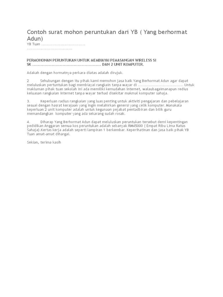 Contoh Surat Mohon Peruntukan Dari Yb