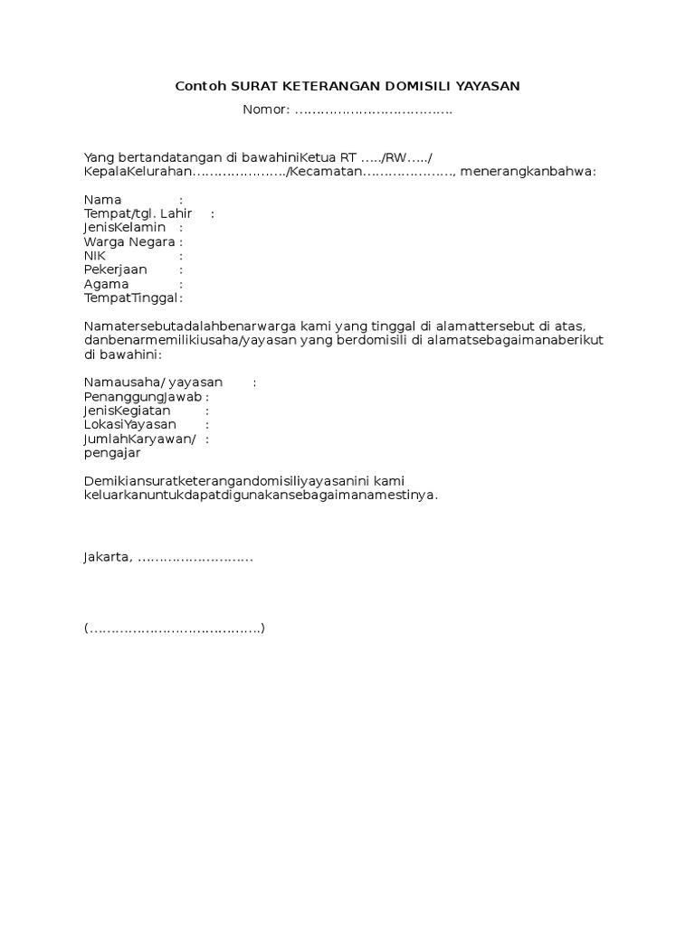 Contoh Surat Keterangan Domisili Dari Rt Doc Suratsuratxyz