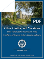 Villas, Castles, And Vacations - How Perks and Giveaways Create Conflicts of Interest in the Annuity Industry - Senator Elizabeth Warren Report - US Senate - October 2015