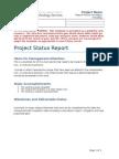 Project Status Report Template U Texas