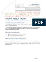 Project Status Report Template U Texas
