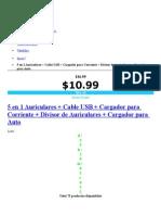 5 en 1 Auriculares + Cable USB + Cargador para Corriente + Divisor de Auriculares + Cargador para Auto