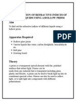 Determination of Refractive Indices of Various Liquids Using a Hollow Prism