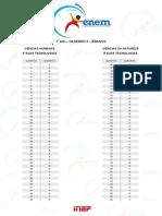 ENEM 2015 - Gabarito - Caderno 3 Branco Sabado