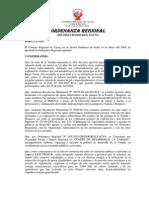 Ordenanza REGIONAL_009_2004 Prohibe Energia Electrica Yarada