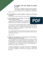 Cuestionario Del Código Civil Del Estado de Jalisco Artículos 1732 Al 1758