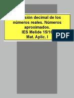 Expresión decimal números reales. Números aproximados