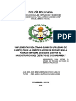 Implementación de Reactivos Químicos Para La Identificación de Drogas en La Felcc Del Distrito de Cochabamba