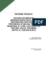 Cano 2015 - Informe Tecnico Estudio de Impacto Arqueologico - Lote Bonilla - Los Cuartos - Expte 539-232-B-2015 b Corregido