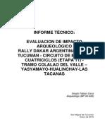 Cano 2015 - Informe Tecnico Estudio de Impacto Arqueologico - Rally Dakar 2015 Trayecto Motos Colalao-hualinchay 2