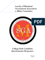 University of Maryland City Affairs Committee College Park Election Guide 2015
