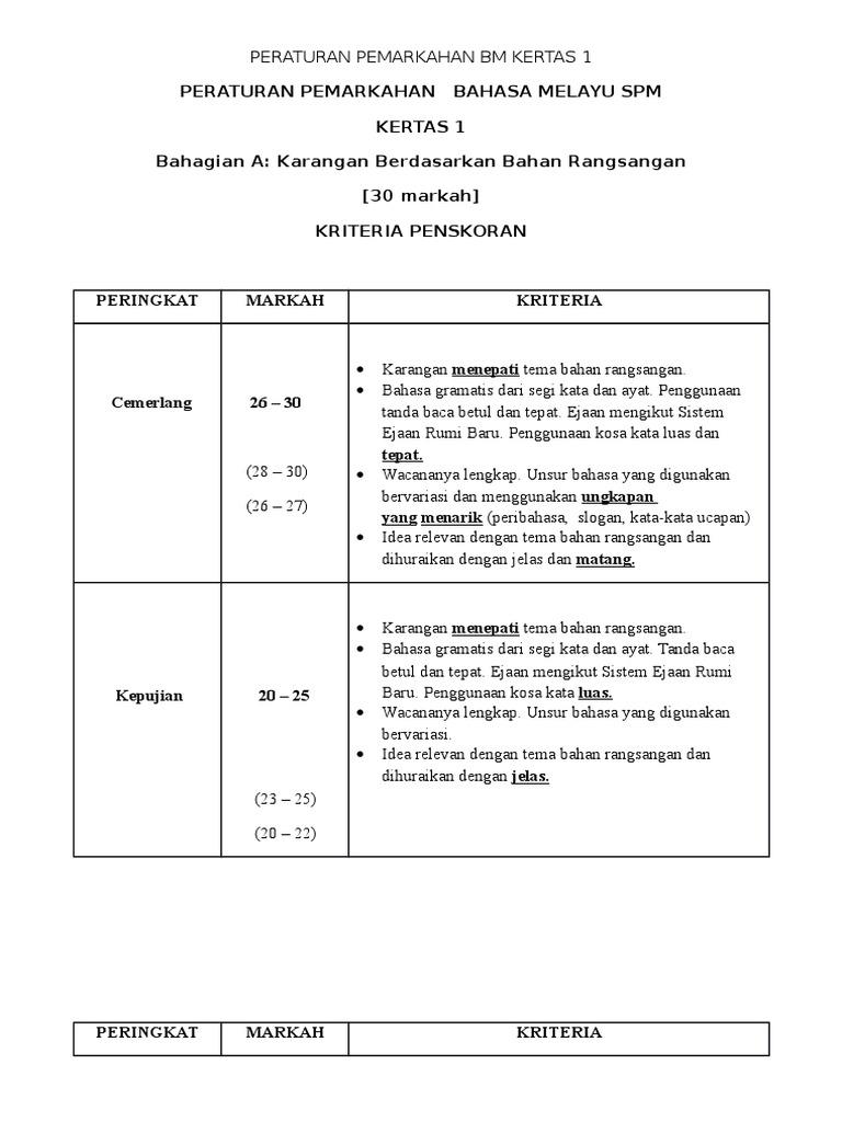 Peraturan Pemarkahan Kertas 1 Bahasa Melayu Spm