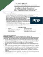 Sample Real Estate Sales Management Resume