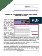 Due bandi da 150.000 euro per progetti in ambito sociale, sanitario ed educativo - Pu24.it, 28 ottobre 2015