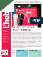"""L'Hebdo des socialistes n°792-793 """"Un référendum pour l'unité"""""""