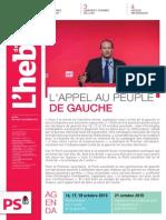 """L'Hebdo des socialistes n°794 """"L'appel au peuple de gauche"""""""