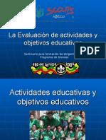EVALUACIÓN de EVALUACIÓN de objetivos y actividades.pptObjetivos y Actividades