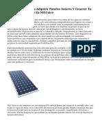 siete Opciones Para Adquirir Paneles Solares Y Generar Tu Propia Electricidad En México
