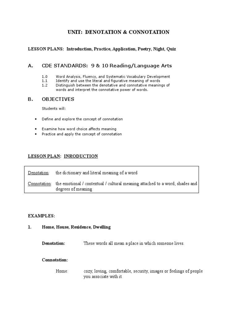 worksheet Connotation Denotation Worksheet denotation connotation unit 9ab word