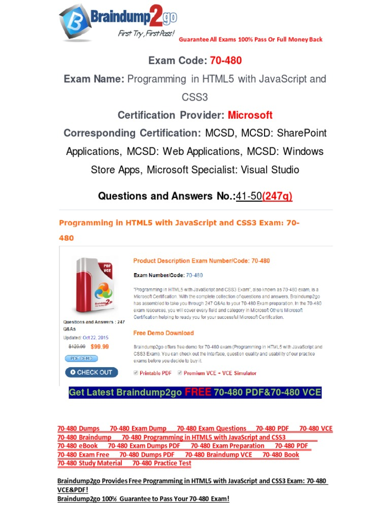 Braindump2go latest 70 480 pdf free 100 pass guaranteed 41 50 braindump2go latest 70 480 pdf free 100 pass guaranteed 41 50 cascading style sheets test assessment 1betcityfo Gallery