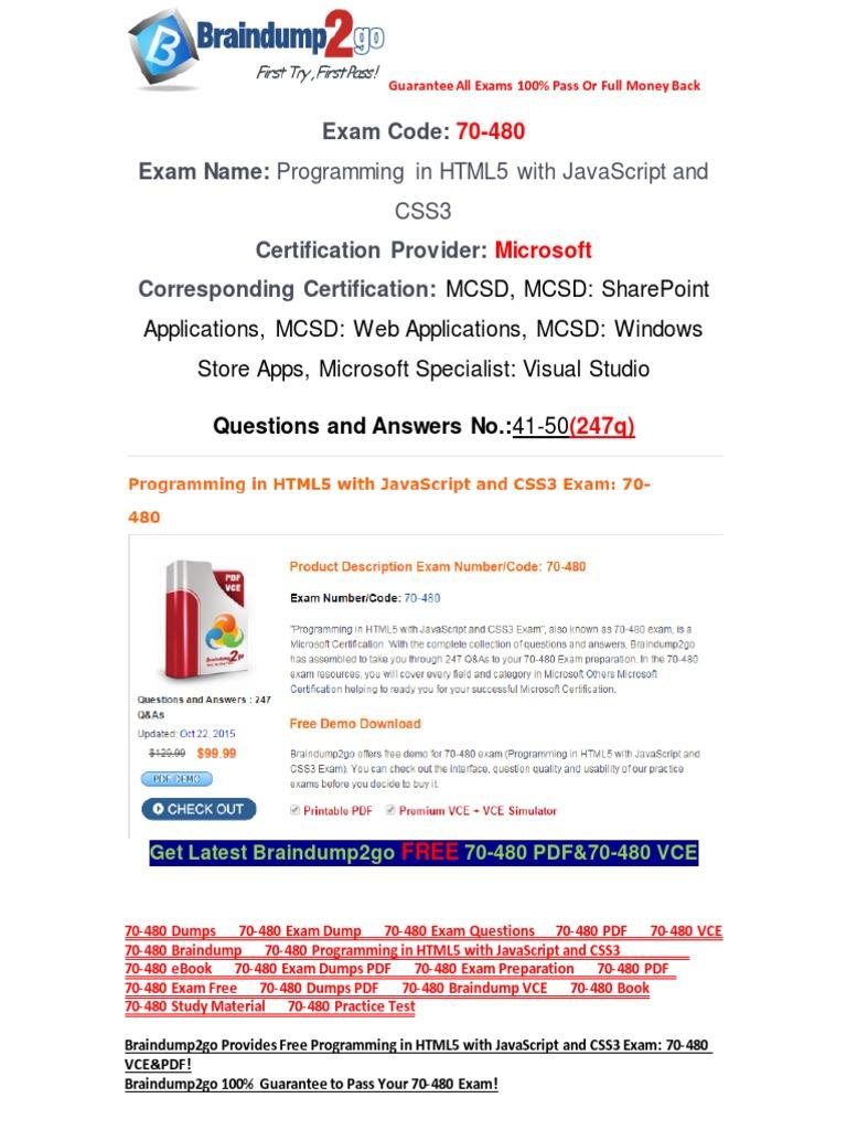 Braindump2go Latest 70 480 Pdf Free 100 Pass Guaranteed 41 50