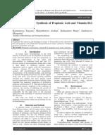 Research Intensity Synthesis of Propionic Acid and Vitamin B12 Propionibacteria