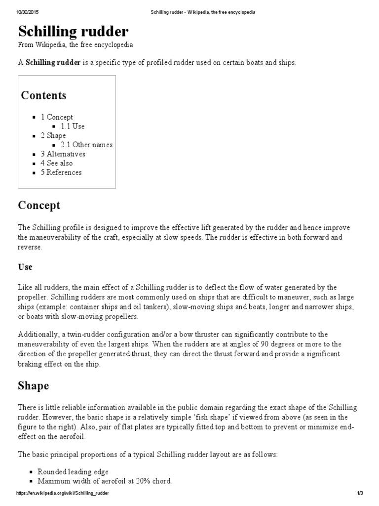 Schilling Rudder - Wikipedia, The Free Encyclopedia   Water