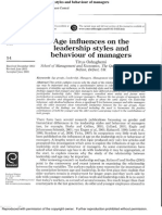 2004. Age Influences on the Leadership Styles and Behaviour of Managers