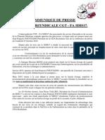 COMMUNIQUE DE PRESSE  DE L'INTERSYNDICALE CGT - FA SDIS17
