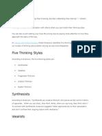 5 Thinking Styles