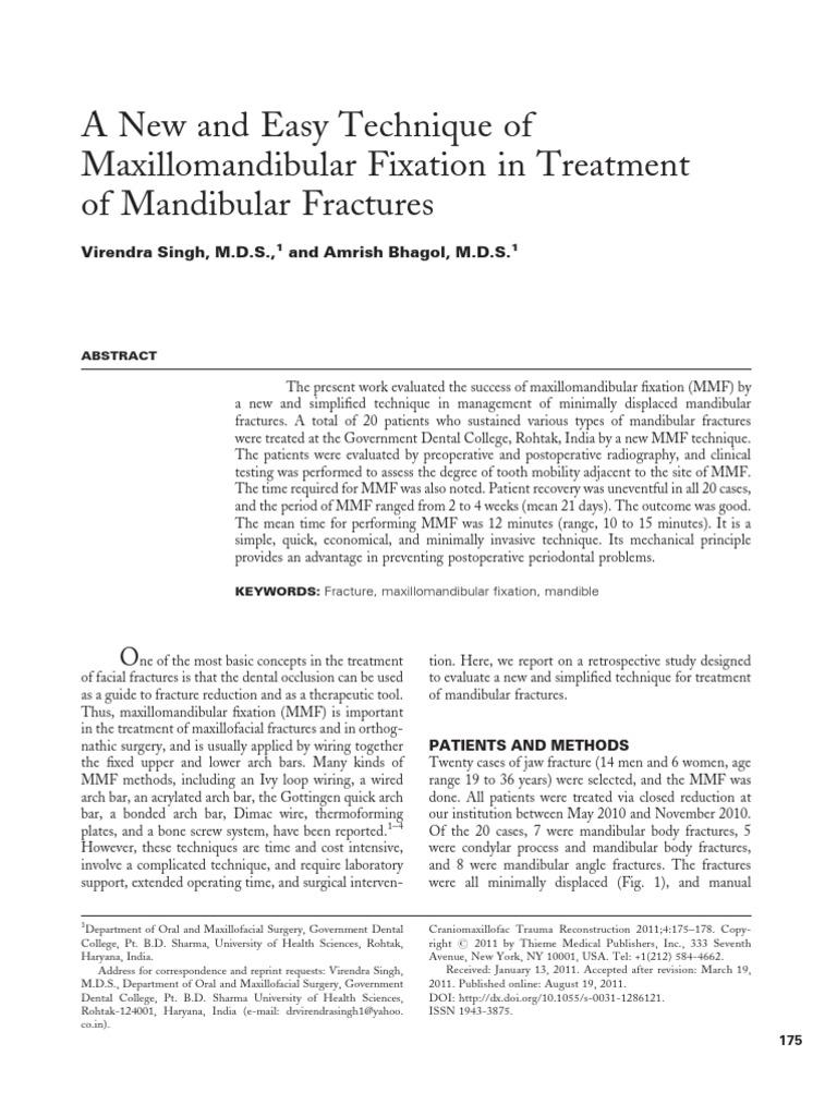 A New and Easy Technique of Maxillomandibular Fixation in Treatment ...