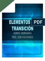 Elementos de Transiciôn Toxicologia
