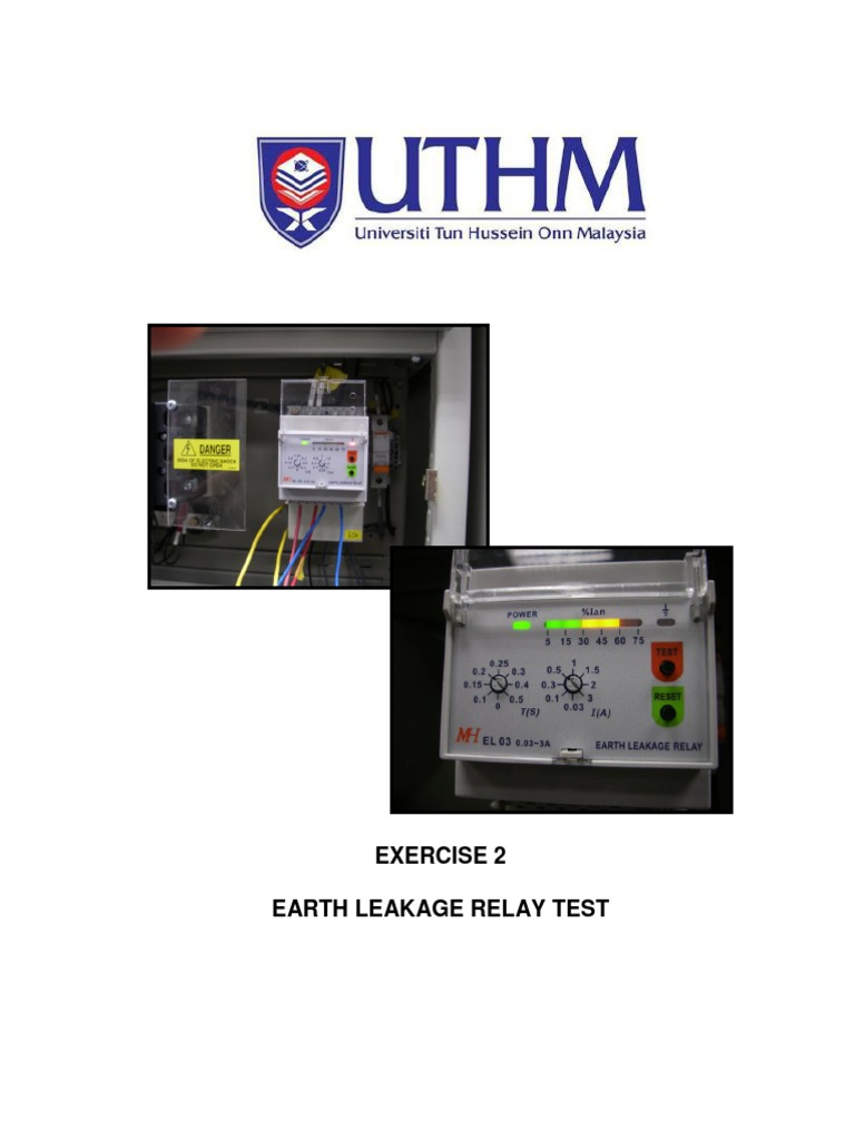 Lab 2 Earth Leakage Relay Test Bef 45101 Switch Wiring Diagram