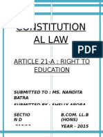 Constitution Law- Article 21- A
