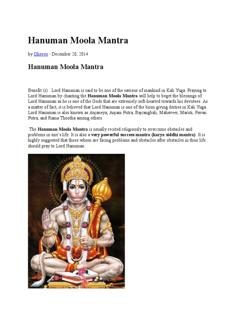 Hanuman Moola Mantra   Mantra   Indian Religions