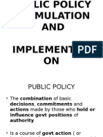 Public Policy Formulation And