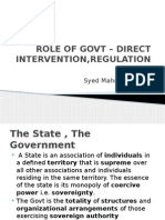 Role of Govt – Direct Intervention,Regulation