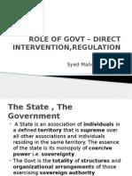 Role of Govt – Direct Intervention,Regulation