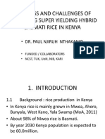 Progress and Challenges of Producing Super Yielding Hybrid Basmati Rice in Kenya