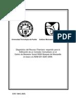 Diagnóstico del Recurso Financiero requerido para la Edificación de un Comedor Comunitario